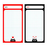 Paper Note Planner set. Cell texture. To do list Organizer Schedule template. Kids style. Empty place for notes. Black cat, red he. Art. Cute cartoon character Royalty Free Stock Images
