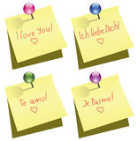 Paper note with push pin and I love you words. Vector yellow paper note with push pin and I love you words in english, german, spanish and french Royalty Free Stock Image