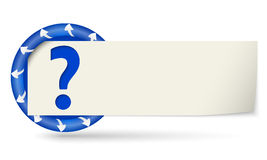 Paper on note and question mark Stock Images