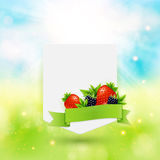 Paper note with ribbon, berries and leaves on bright summer back Royalty Free Stock Photography