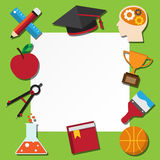 Paper note and school icons set . Royalty Free Stock Photos