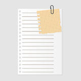 Paper note sheet for message vector illustration. Royalty Free Stock Photos