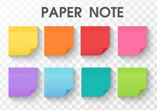 Paper note sticker collection with long shadow stock illustration