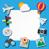 Paper note and travel icons set . Royalty Free Stock Images