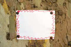 Paper note on tree Stock Image