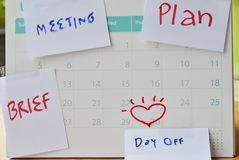 Paper note for vacation remind stick on calendar Stock Photography