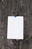 Paper note in wood 02. White paper note in wood background with blue pin Royalty Free Stock Photos