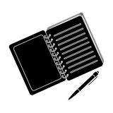 Paper notebook detective. Notepad to record readings, to solve the crime.Detective single icon in blake style vector Royalty Free Stock Images
