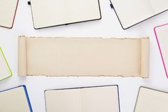 Paper notebook and note pad stock image