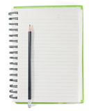 Paper notebook right page with pencil on white background Stock Images