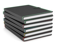 Paper notebooks. Close up view of a stack of paper notebooks on white background (3d render Royalty Free Stock Photo