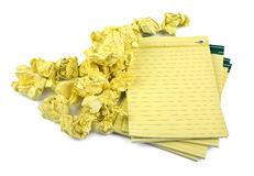 Paper notebooks and crumpled paper Royalty Free Stock Image
