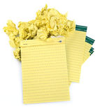 Paper notebooks and crumpled paper. Lined paper notebooks and crumpled paper on white background Stock Photo