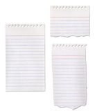 Paper Notepad Collection. Ripped isolated on white stock illustration