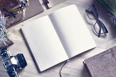 Paper Notepad On Wooden Table. Stock Images