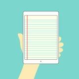 Paper noterar tableten räcker på stock illustrationer