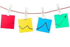 Paper notes with chart Stock Images