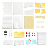 Paper Notes And Clips Object Set Stock Photos