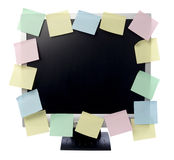 Paper notes on computer monitor Royalty Free Stock Images
