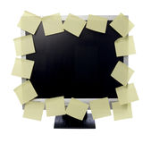 Paper notes on computer monitor Stock Image