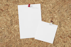 Paper notes on cork background Stock Images