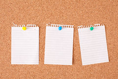 Paper notes on cork board Stock Photos