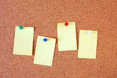 Paper notes on cork board Stock Image