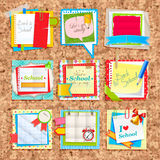 Paper notes on cork board. Scrapbooking elements Stock Photos