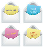 Paper notes in envelopes Royalty Free Stock Images