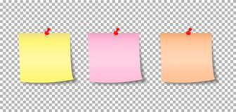 Paper notes pinned by a button. Stickers. Notes for the message vector illustration