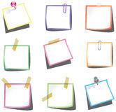 Paper notes with push pin and paperclip Stock Image