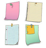 Paper notes with push pin and paperclip Stock Photo