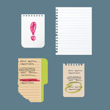 Paper notes sheet for message vector illustration. Stock Images