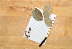 Paper for notes and spices Royalty Free Stock Images