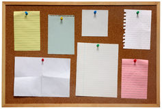Paper on a notice board. Royalty Free Stock Photos