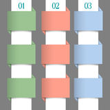 Paper numbered banners in pastel colors Stock Image