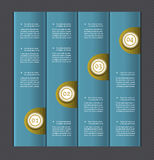 Paper numbered banners. Vector design template. Four steps in blue. eps 10 Stock Image