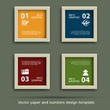 Paper and numbers icon design template stock illustration