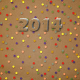 Paper numbers of new 2014 with confetti Royalty Free Stock Images