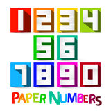 Paper Numbers Set. Colorful Paper Cut Vector Numbers Royalty Free Stock Image