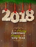 New Year 2018 of crumpled paper against wood background. Paper numbers with torn edge on ribbon. Best vector illustration for new years day, christmas, winter Stock Photography
