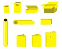 Paper objects 2. Paper cliparts or icons with books and post objects stock illustration