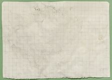 Paper old vintage crumpled texture 7204. A weathered old textured worn sheet of paper, with lines and boxes. Green background. 7204 royalty free stock image