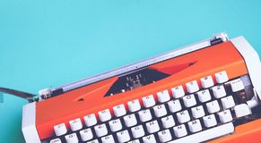 Old typewriter with paper on table background. Paper old write type writer typewriter white Stock Photo