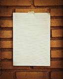 Paper On Brick Royalty Free Stock Images