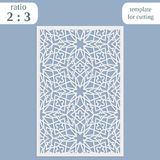 Paper openwork greeting card, template for cutting, lace invitation, lasercut metal panel, wood carving,. Vector Stock Photos