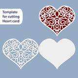 Paper openwork  wedding card, heart shape,  greeting postcard, template for cutting, lace imitation,  Valentine card, love letter,. Curve plotter,   vector Stock Images