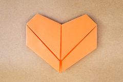 Paper orange heart Stock Images