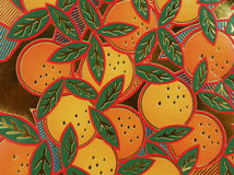 Paper oranges. Drawing on the wall royalty free stock images