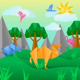 Paper origami animals landscape application paper background. With bird, camel, flamingo, camel, clouds, trees, mountains. Kids template cut paper toy landscape royalty free illustration